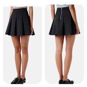 Topshop Black Pleated Scuba Skater Skirt